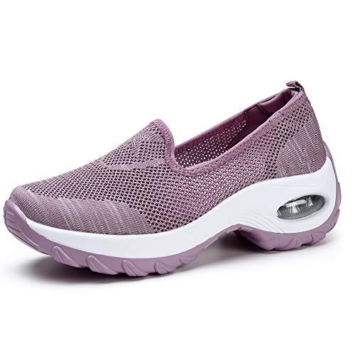 Donna Scarpe da Ginnastica Corsa Sportive Fitness Running Sneakers Basse Interior Casual all'Aperto Fucsia EU 39