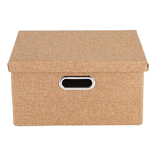 Leinen Aufbewahrungsbehälter Stoff Große faltbare Körbe Würfel Container mit abnehmbaren Deckel und Griffe für Spielzeug Kleidung Handtuch Wäsche Organizer(Braun)