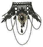 Gothik Spitzen Halskette mit Brosche - Schwarz - Cosplay Karneval Halloween Vampir Hexe Kostüme Collier Kropfband