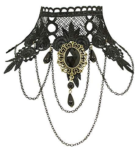 Gothik Spitzen Halskette mit Brosche – Schwarz – Cosplay Karneval Halloween Vampir Hexe Kostüme...