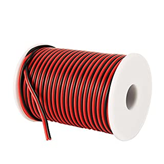 C-able 31M 100FT 18 AWG Gauge Electrical Wire Hookup Red Black Copper Stranded Auto 2 Wire Low Voltage 12v DC Wire for Single Color LED Strip Extension Cable Cord Spool