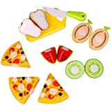 Toyshine Realistic Sliceable Pizza and Fruit Cutting Play Toy Set, Can Be Cut in 2 Parts, 4 Fruits, 3 Pizza Slices