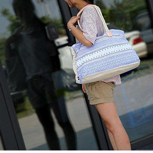 &ZHOU femminile borsa di tela grande capacità borsa a tracolla del messaggero di svago di 40 * 13 * 34 , meters white meters white