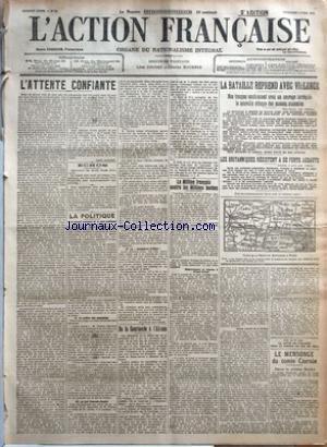 ACTION FRANCAISE (L') [No 95] du 05/04/1918 - L'ATTENTE CONFIANTE PAR LEON DAUDET - ECHOS - LA POLITIQUE - I. LE TRAVAIL NATIONAL ET LA PAIX PUBLIQUE - II. LA COLERE DES COUPABLES - III. LE FAIT CZERNIN-CACHIN - IV. LA MANOEUVRE INFAME PAR CHARLES MAURRAS - DE LA COURLANDE A L'ALSACE PAR J. B. - LE MILLION FRANCAIS CONTRE LES MILLIONS BOCHES - REMERCIEMENT ET REPONSE A URBAIN GOHIER - BONNE VOLONTE DE LA FRANCE PAR CH. M. - LE MENSONGE DU COMTE CZERNIN - DANS LA PRESSE BOCHE - LA BATAILLE REPRE