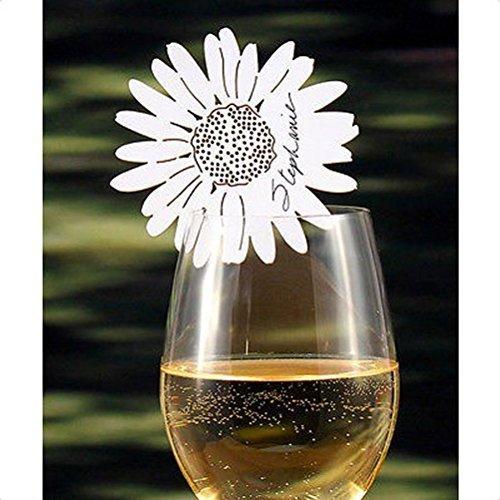 ULTNICE 50 Stück Daisy Flower Ornament Dekor für Weinglas Tisch Tischkarte Hochzeit Verlobung...