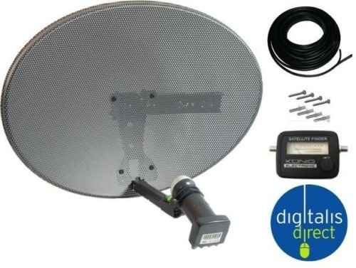 Sky/Freesat HDR Satellite Dish DIY Self Installation Kit,Latest Dish with Quad LNB,15m Twin Cable all necessary Brackets,Bolts and SATELLITE FINDER Test