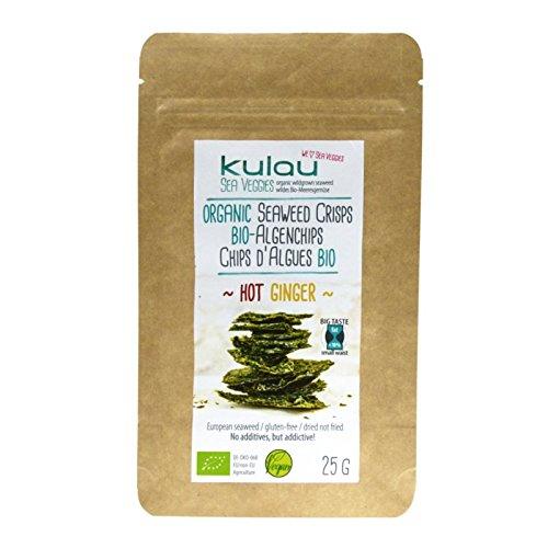 KULAU Snacks Bio-Algenchips Hot Ginger 25 g, Algensnack bio mit Ingwer & Chili, fettarm & kalorienarm & nicht fritiert