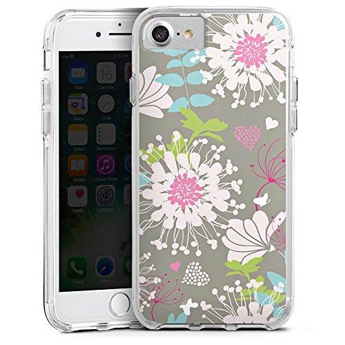 Apple iPhone X Bumper Hülle Bumper Case Glitzer Hülle Flowers Blumen Dekor Bumper Case transparent