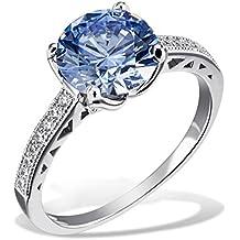 Goldmaid Damen-Ring Arctic Blue 925 Sterlingsilber gesetzt mit 16 weißen und einem blauen Swarovski
