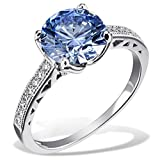 Goldmaid Damen-Ring Arctic Blue 925 Sterlingsilber gesetzt mit 16 weißen und einem blauen Swarovski Zirconia