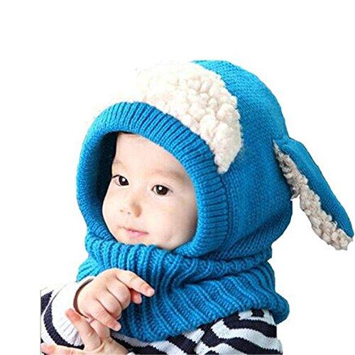 Inverno bambina neonato cappello trrad cuffia di lana sciarpa cappuccio berretti (blu)