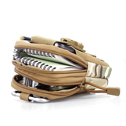 Unigear Molle Pouch Tattico Marsupio Militare Borselli da Cintura con Moschettone in Alluminio Gratis, Fili Neri-Grigi Multicam