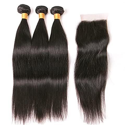 Peruvian Hair Extensions Straight Hair Products 3 Bundles With Lace Closure Pieces Natural Color 340g 16 18 20 +14