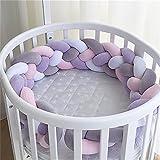2M/1M Krippe Stoßstange, Baby Nestchen Weben Bettumrandung Kantenschutz Kopfschutz -Krippe Plüsch Stoßfänger Zöpfe Schutz für Kinder