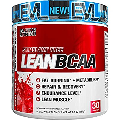 Evlution Nutrition LeanBCAA, BCAA's, CLA and L-Carnitine, Stimulant-Free, Recover and Burn Fat, Sugar and Gluten Free, 30 Servings from Evlution