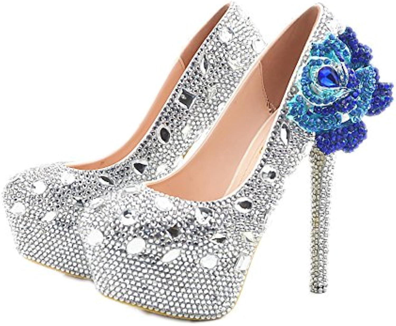 Lacitena Fleur Strass Bling Talons de Mariage Ultra à Chaussures à Ultra Talons Hauts à la Main 49c830