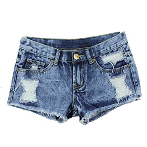 Malloom® Frauen Sommer Mode Weinlese Denim Niedrige Taille Jean Shorts Hot Pants (S, blau) (Hose, Turnschuhe Kleid,)