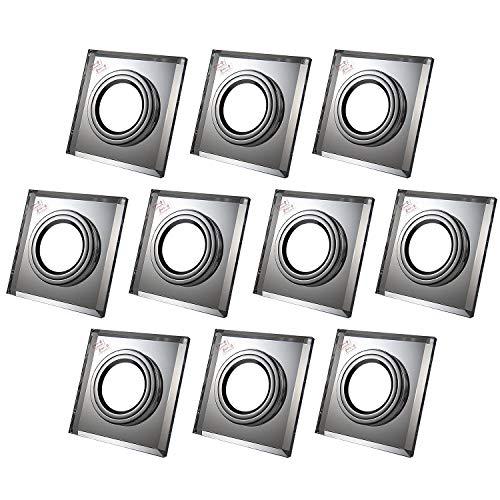 Einbaustrahler aus Glas/Spiegel/Klar CRISTAL Inkl. 10 X CRISTAL (Klar) Eckig IP20 Deckenstrahler Einbauleuchte Deckeneinbauleuchte Deckenspot, 10x Fassung GU10 - ohne Leuchtmittel