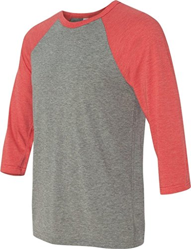 Delifhted Adult 3/4 Sleeve Blended Baseball Tee GREY/LT RED TRIBLEND