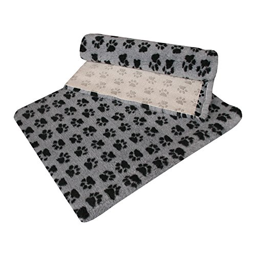 51aCiLL0fXL UK BEST BUY #1VETFLEECE NON SLIP WITH SMALL PAW DESIGN WHELPING FLEECE DOG CAT ANIMAL PUPPY KITTEN VET BEDDING 1m x 0.75m [40 x 30] GREY / CHARCOAL PAWS price Reviews uk