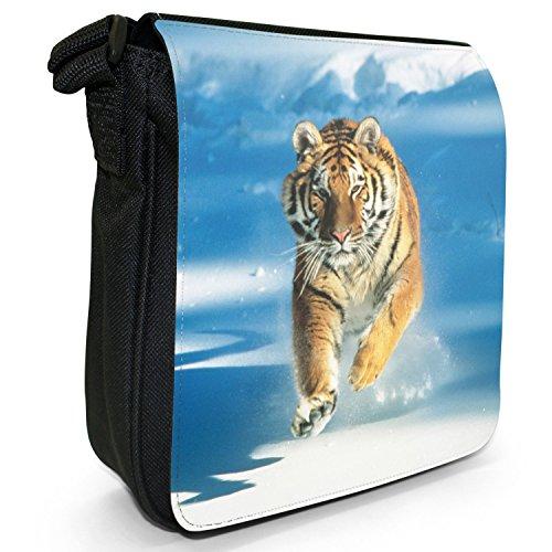Wild Tigre Borsa a spalla piccola di tela, colore: nero, taglia: S Nero (Tiger Running In Snow)