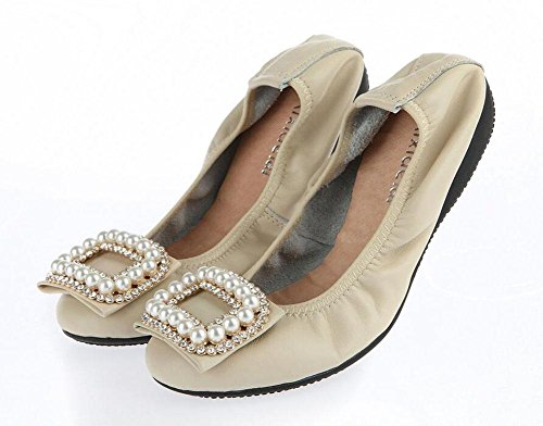 GLTER Diamante collare scarpe basse pieghevoli Egg Rolls 'donne incinte' s Dance Women - Women - Scarpe Shallow 'S nuovo fondo piatto delle donne' S White