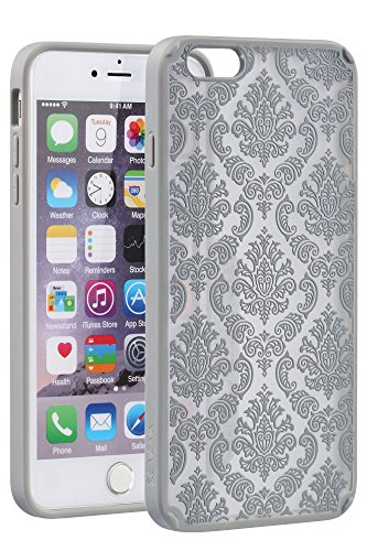 "Vena Apple iPhone 6 Plus [TACT Armor][CornerGuard   Absorption des chocs] hybride Slim Protective Cover Case pour iPhone 6 Plus (5.5 "") - DAMASK [Teal] Silver"