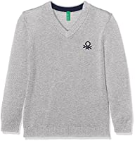 United Colors of Benetton Boy's V Neck Sweater L/S Jumper, Grey, 3-4 Years