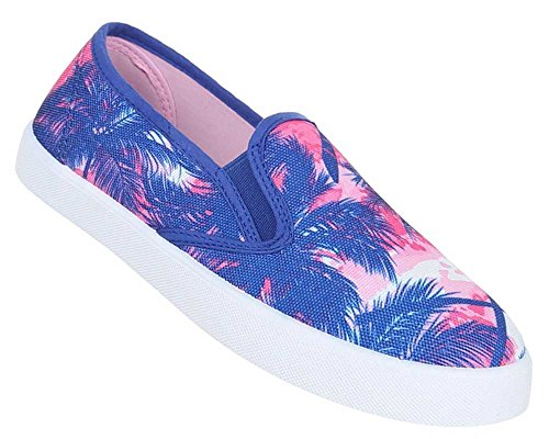 Damen Schuhe Slipper Halbschuhe Trend Sommerschuhe Flache Schlupfschuhe Blau Rosa