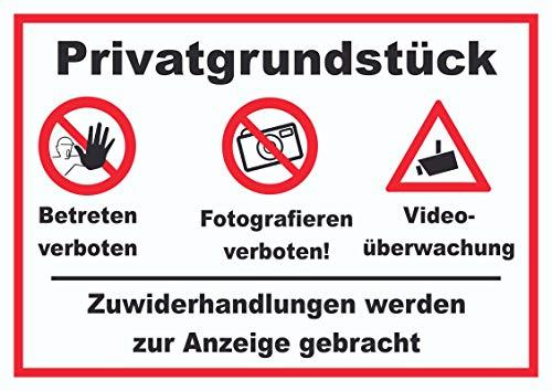 HB-Druck Privatgrundstück Betreten Fotografieren verboten Videoüberwachung Schild A3 (297x420mm)