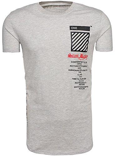 BOLF Herren T-Shirt Tee Kurzarm Rundhals Classic Aufdruck Print Motiv MIX Grau_S085