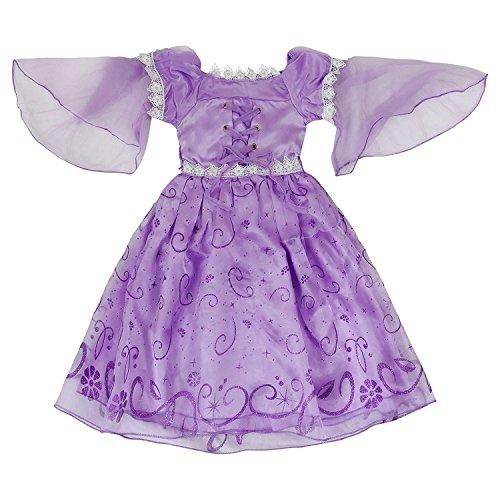 Katara 1680 Lila Rapunzel / Tangled oder Sofia die Erste Kostüm-Kleid inspiriert von Disney-Prinzessinen für Mädchen/Kinder für Karneval, Fasching, Halloween, Geburtstagsparties