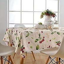 Asvert Manteles de Mesa Antimanchas y Líquidos de Estampado Cerezas 130x180cm para Mesa Rectancular de Comedor Cocina Bar y Jardín