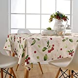 Rightvp Cherry Tablecloth 100% Polyester Fresh Style Rectangular Table Clover (130x180cm Beige)