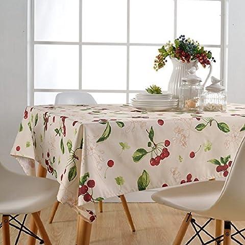 Asvert Nappe Rectangulaire Antitaches de Table pour Restaurant Salle à Manger, Cerise (130x180cm)