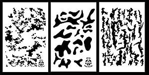 Acide tactique® Lot de 3–23cm x 35cm en vinyle Camouflage Aérographe Pistolet à Peinture en spray–Pochoirs Rocaille Cylindre (numérique, camouflage MultiCam, écorce)