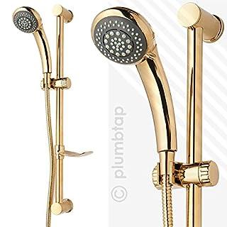 Arian Amber Gold Shower Kit | 6 Function Handset, 1.5m Metal Shower Hose & Riser Rail | BRAND NEW