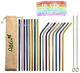 AllEco Edelstahl Strohhalm wiederverwendbar 16er Set Pick & Mix + 2 Reinigungsbürsten + Eco-Beutel, freie Farbwahl - Rosegold