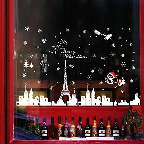 heekpek Frohe Weihnachten Festival Dekoration Fenster Aufkleber Schneemann Santa Claus Aufkleber schneebedeckten Blick auf Eiffelturm Schneeflocke Aufkleber für Haus und Geschäfte
