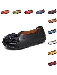 Gaatpot Mujer Mocasines de Cuero Verano Vintage Flores Loafers Zapatos Casual Respirable Planos de Deslizamiento Zapatos