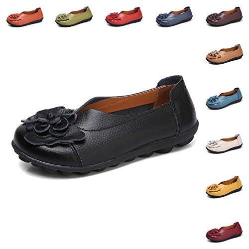 Gaatpot Damen Blumen Mokassins Atmungsaktiv Leder Bootsschuhe Freizeit Loafers Flache Fahren Halbschuhe Schuhe,11 ()