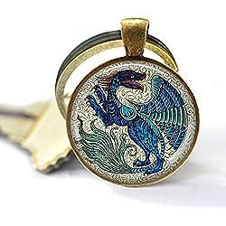 De Morgan Winged Beast - Dragon Jewelry - Dragón Azul - Bestia Mítica - Dragón Medieval - Llavero de dragón
