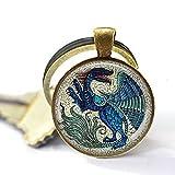 De Morgan GEWINGED Beast – Drachen-Schmuck – Blauer Drache – Mythisches Biest – Mittelalter Drache – Schlüsselanhänger