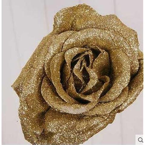 GWZ,Rosa rossa di Natale simulazione di fiori artificiali luce rossa continentale retrò cristallo vaso fiore arrangiamenti display fiori , C LINXIANBISHUIYIYUAN
