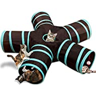 YAMI Cat Tunnel Toy 5 Way, Collapsible Pet Play Tunnel Tube with Storage Bag for Cats, Puppy, Rabbits, Guinea Pig, Indoor and Outdoor Use