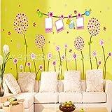 Wandaufkleber Hauptpflanze Blumenwandaufkleber, Wohnzimmer Fernsehhintergrundwanddekoration-Wandaufkleber 170 × 120cm