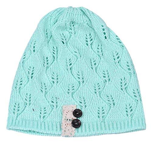 Tonsee 2016 Mode femme Feuilles évider Knitting Hat Bleu