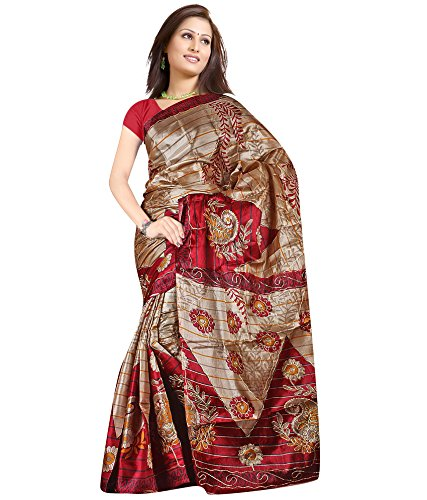 Umang Trendz Women's MultiColour Printed Art Silk Saree Without Blouse  available at amazon for Rs.149