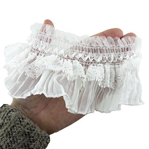 HAND Chemise à élastiques Mix Plis de Dentelle Blanche Découper Une Bordure pour Vêtements et Accessoire Embellissement - 80 mm de Large - 3 Mètres