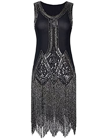 PrettyGuide Femme Ann¨¦es 1920 Vintage Perle Frange Inspired Robe Charleston M Noir